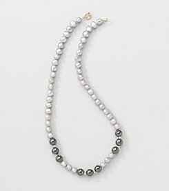 Gold Over Silver Genuine Silver Grey Freshwater Pearl and Hematite Necklace