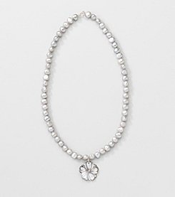 Sterling Silver Silver Grey Genuine Freshwater Pearl and Shell Flower Pendant Necklace
