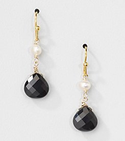 Gold Over Silver Genuine Freshwater Pearl and Black Onyx Heart Drop Earrings