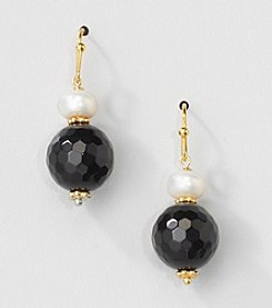 Gold Over Silver Genuine Freshwater Pearl and Black Onyx Bead Drop Earrings