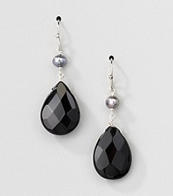 Sterling Silver Genuine Silver Grey Genuine Freshwater Pearl and Black Onyx Pear Drop Earrings