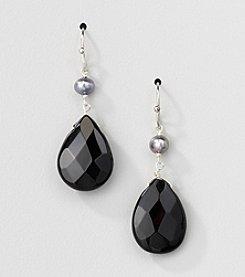 Sterling Silver Genuine Silver Grey Genuine Freshwater Pearl and Black Onyx Pear Drop Earrings