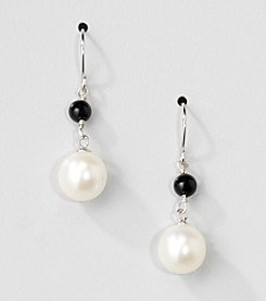 Sterling Silver Genuine Freshwater Pearl and Black Onyx Drop Earrings