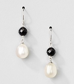 Sterling Silver Genuine Black Onyx and Freshwater Pearl Drop Earrings