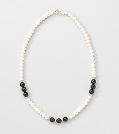 Gold Over Silver Genuine Freshwater Pearl and Black Onyx Necklace