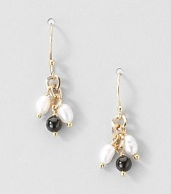 Gold Over Silver Genuine Freshwater Pearl and Black Onyx Earrings
