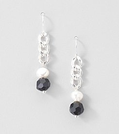 Sterling Silver Genuine Freshwater Pearl and Glass Rondelle Drop Earrings