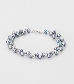 Sterling Silver Two Row Genuine Peacock Freshwater Pearl Bracelet