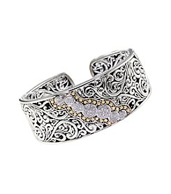 Effy® .28 ct. t.w. Diamond Cuff Bracelet in Sterling Silver/18K Gold