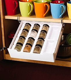 Kamenstein White Extra Drawer Spice Organizer with 12 Spice Jars