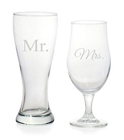 Cathy's Concepts Mr. and Mrs. Pilsner Set