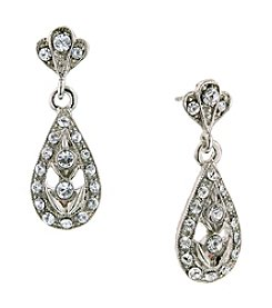 1928® Jewelry Diamond Teardrop Pave Dangle Earrings