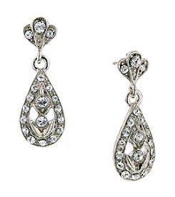 1928® Jewelry Diamond Teardrop Pave Dangle Earrings