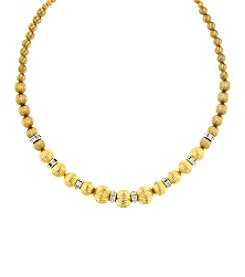 1928 Signature Tres Timeless Textured Two-Tone Beaded Necklace