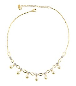 1928 Signature Matte Goldtone Pearl Glass Bead Crystal Necklace