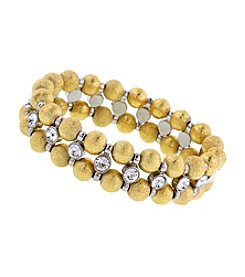 1928 Signature Goldtone Speckled Beaded Bracelet