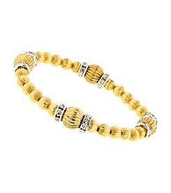 1928 Signature Tres Timeless Textured Golden Beaded Bracelet