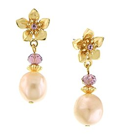 1928® Jewelry Amethyst Flower Post Pearl Drop Earrings