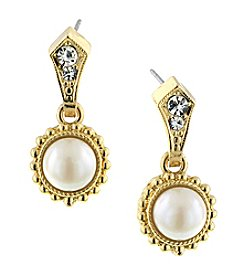 1928® Jewelry Venetian Pearl Encased Vintage Drop Earrings