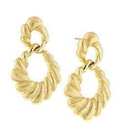 1928® Jewelry Cleopatra Goldtone Scalloped Drop Earrings