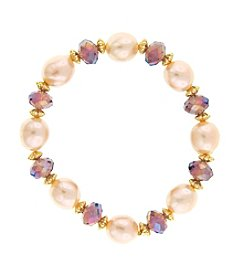 1928® Jewelry Champagne Pearl and Glass Beaded Bracelet