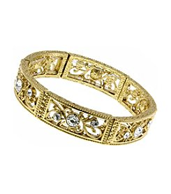 1928 Signature Goldtone Glass Stone Filigree Bracelet
