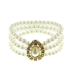 1928 Signature Classic 3 Row Pearl and Czech Stone Bracelet