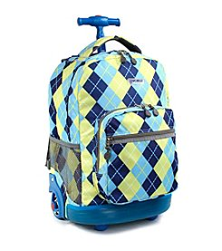 J World® Sunrise Argyle Rolling Backpack