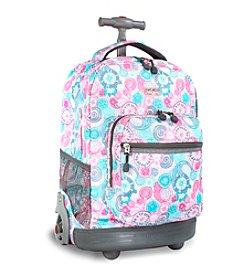 J World®  Sunrise Blue Raspberry Rolling Backpack