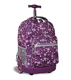 J World®  Sunrise Garden Purple Rolling Backpack