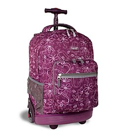 J World®  Sunrise Love Purple Rolling Backpack