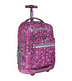 J World® Sundance Love Purple Laptop Rolling Backpack