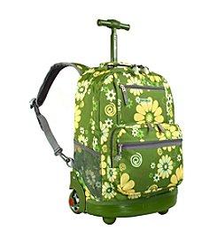 J World® Sunset Khaki Flower Rolling Backpack