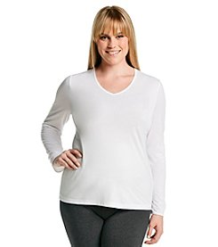 Cuddl Duds® Plus Size Softwear Lace Long Sleeve Top - White