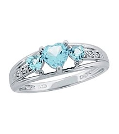 Heart Shape .018 ct. t.w. Created Gemstone Sterling Silver Ring
