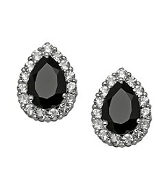 Pear Shape Black Onyx and Round White Topaz Earrings