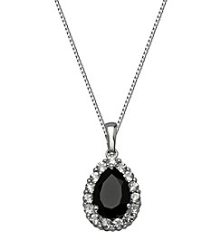 Black Onyx and Round White Topaz Pear Shape Pendant Necklace