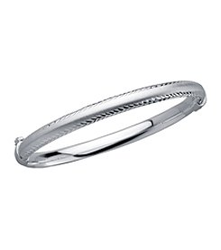 Silver Bangle with Diamond Cut Edges, Satin Center