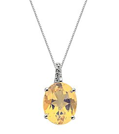 Oval Shape .005 ct. t.w. Created Gemstone Pendant Necklace