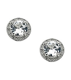 Round White Topaz Center with Round .01 ct. t.w. Created White Sapphire Earrings
