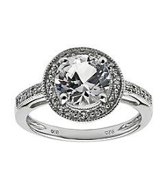 Round Center White Topaz with Round .005 ct. t.w. Created White Sapphire Ring