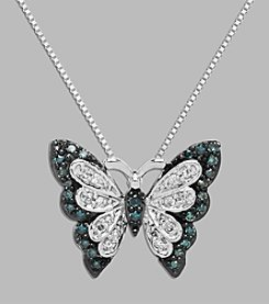 .20 ct. tw. Green & White Diamond Butterfly Pendant In Sterling Silver