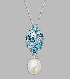 Freshwater Pearl & Blue Topaz Pendant in Sterling Silver