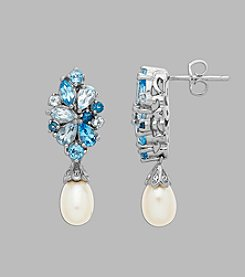 Freshwater Pearl & Blue Topaz Earrings in Sterling Silver