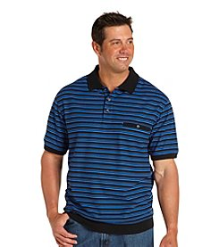 Harbor Bay® Men's Big & Tall Black/Blue Striped Pique Polo