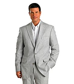 Oak Hill® Men's Big & Tall Grey Striped 2-Button Linen Suit Coat