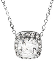 Athra Cushion Cubic Zirconia Pendant With Sterling Silver Cable Chain