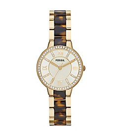 Fossil® Women's Virginia Watch in Goldtone with Tortoise Link Inlay