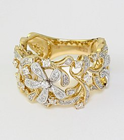 Effy® .42 ct. t.w. Diamond Floral Band Ring in 14K Yellow Gold