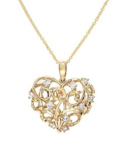 Effy® D'Oro Collection .28 ct. t.w. Diamond Heart Pendant in 14K Yellow Gold